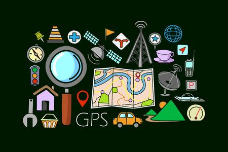vector illustration of flat line art design of GPS system concept for web design template Illustration