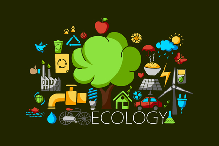 ecological environment: vector illustration of flat line art design of Ecological  and environment concept for web design template