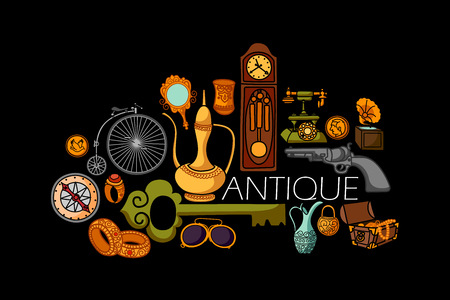 vintage riffle: vector illustration of flat line art design of antique Vintage concept