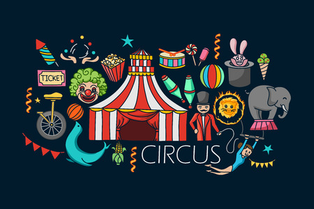 vector illustration of flat line art design of Circus concept