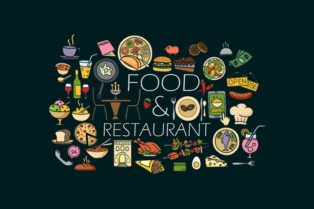 vector illustration of flat line art design of Food and Drink concept