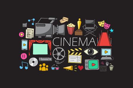blockbuster: vector illustration of flat line art design of Entertainment and Cinema concept