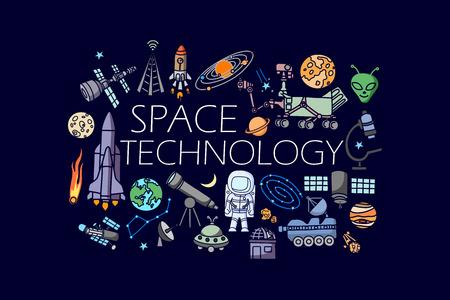 科学および宇宙技術の概念のフラット ライン アート デザインのベクトル イラスト  イラスト・ベクター素材