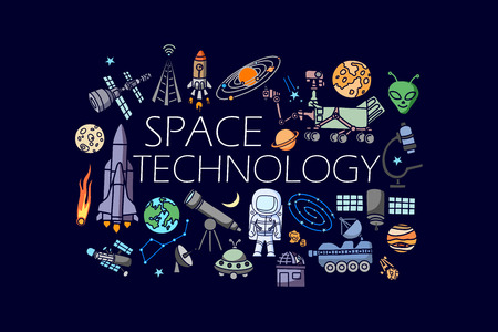 space travel: vector illustration of flat line art design of Science and space technology concept
