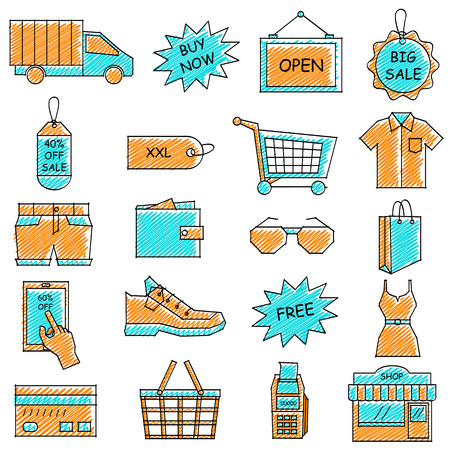 e commerce icon: vector illustration of set of scribbled e commerce and online shopping icon against isolated background