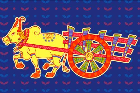 bullock: Vector design of bullock cart in Indian art style