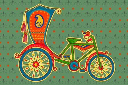 indian village: Vector design of cycle rickshaw in Indian art style Illustration