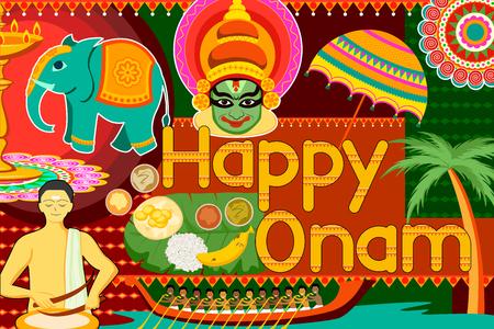 traditional events: vector illustration of Happy Onam festival celebration background