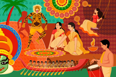 kerala culture: vector illustration of Happy Onam festival celebration background
