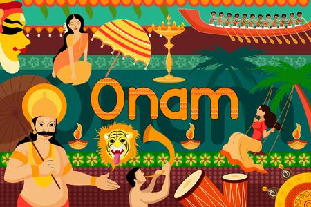 onam: vector illustration of Happy Onam festival celebration background