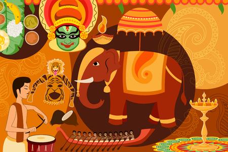 karnataka: vector illustration of Happy Onam festival celebration background