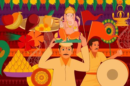 vector illustratie van Happy Ganes Chaturthi festival viering achtergrond