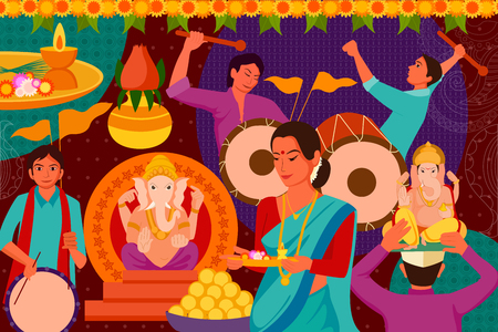 mangal: vector illustration of Happy Ganes Chaturthi festival celebration background