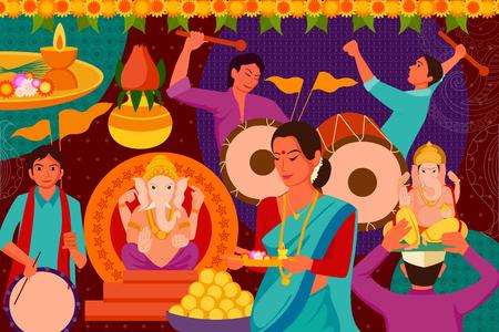 mangal: vector illustration of Happy Ganes Chaturthi festival celebration background
