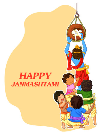 vector illustration of Krishna with friends playing dahi handi in Janmashtami