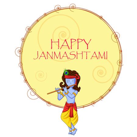 mahabharata: ector illustration of Krishna with flute on Happy Janmashtami background