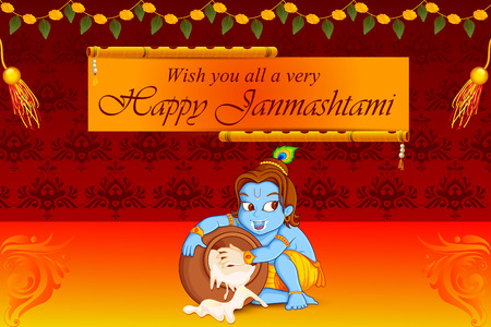 krishna: vector illustration of Lord Krishna stealing makhaan in Happy Janmashtami