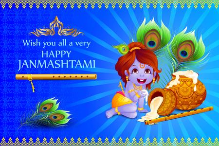 vector illustration of Lord Krishna stealing makhaan in Happy Janmashtami