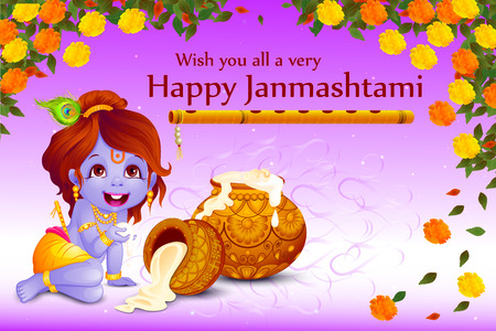 lord krishna: vector illustration of Lord Krishna stealing makhaan in Happy Janmashtami