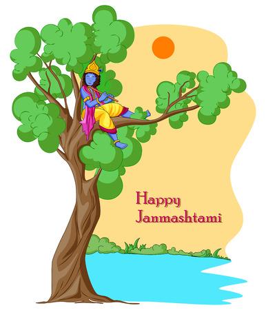 ector illustration of Krishna with flute on Happy Janmashtami background