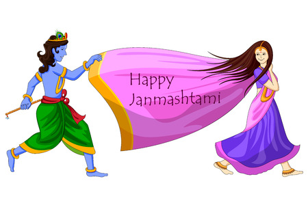 radha: ector illustration of Krishna playing with Radha on Happy Janmashtami background