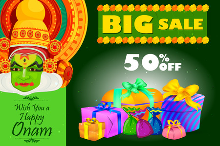 vector illustration of Happy Onam shopping sale offer