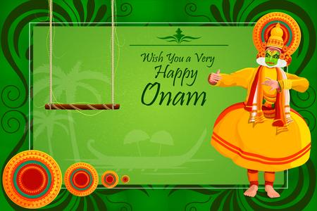 kathakali: vector illustration of Happy Onam Festival background