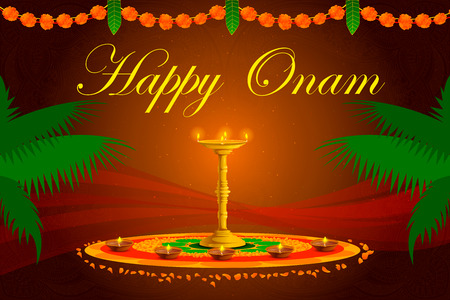 vector illustration of Happy Onam Festival background