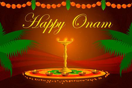 malayalam: vector illustration of Happy Onam Festival background