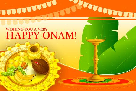 sravanmahotsav: vector illustration of Happy Onam Festival background