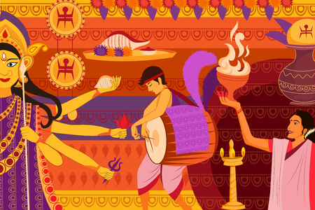 bengal: vector illustration of Happy Durga Puja festival background for India holiday Dussehra