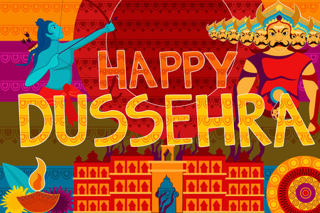 dharma: vector illustration of Happy Dussehra festival background forIndia holiday
