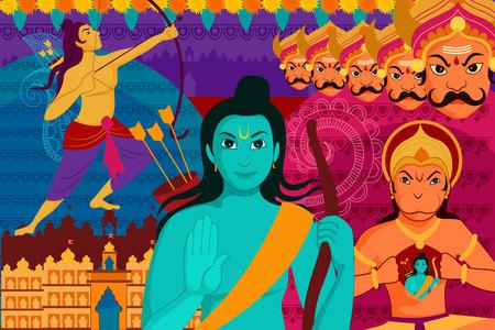 dashamukha: vector illustration of Happy Dussehra festival background forIndia holiday