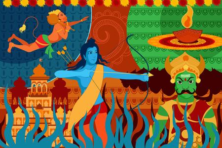 hinduismo: ilustración vectorial de feliz Dussehra festival de fondo forIndia vacaciones
