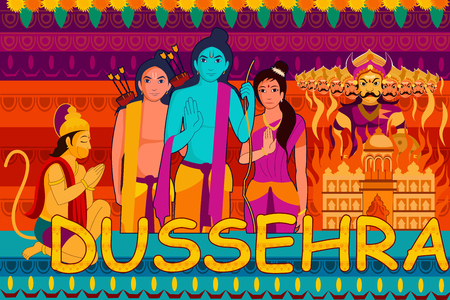 ravan: vector illustration of Happy Dussehra festival background forIndia holiday