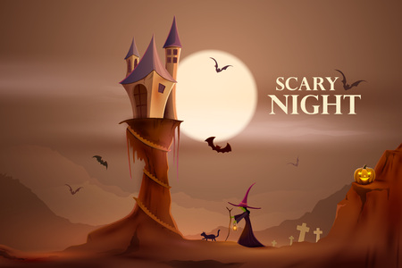 scary night: vector illustration of scary night Halloween holiday background