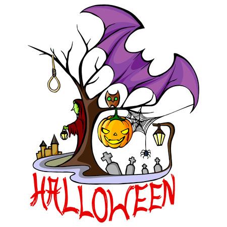 vector illustration of Happy Halloween holiday backdrop
