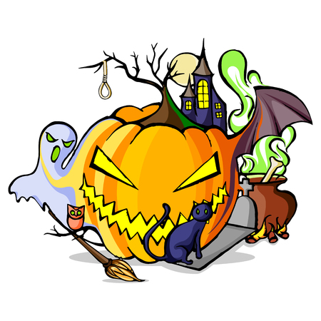 ghost house: vector illustration of Happy Halloween holiday background