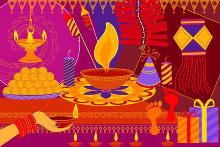 dharma: vector illustration of Happy Diwali festival background kitsch art India Illustration