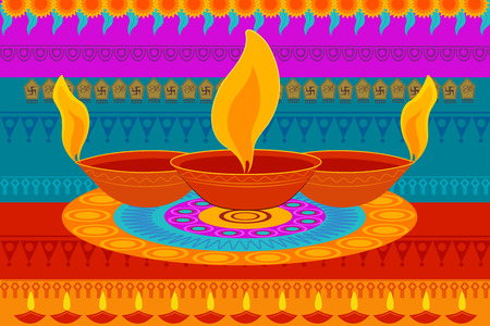 vector illustration of Happy Diwali festival background kitsch art India Illustration
