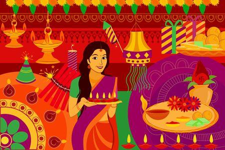 vector illustration of Indian lady with diya Happy Diwali festival background kitsch art India Illustration
