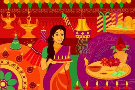 auspicious: vector illustration of Indian lady with diya Happy Diwali festival background kitsch art India Illustration