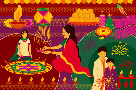 kitsch: vector illustration of Indian family celebrating Happy Diwali festival background kitsch art India Illustration