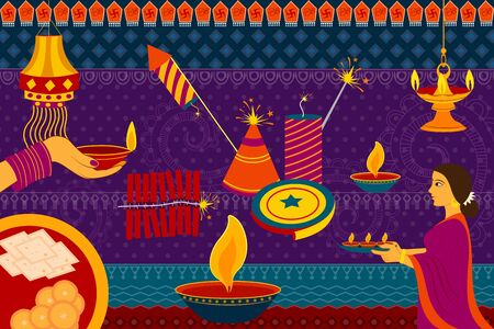 kitsch: vector illustration of Indian lady with diya Happy Diwali festival background kitsch art India Illustration