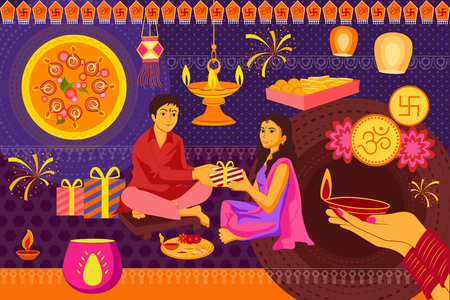 kitsch: vector illustration of Indian family celebrating Bhai Dooj during Happy Diwali festival background kitsch art India