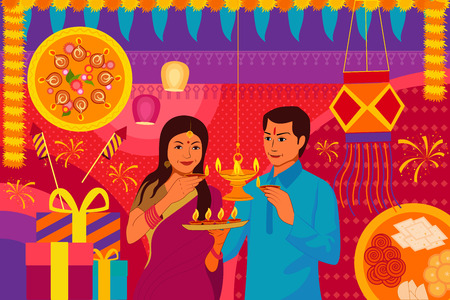kitsch: vector illustration of Indian couple with diya Happy Diwali festival background kitsch art India