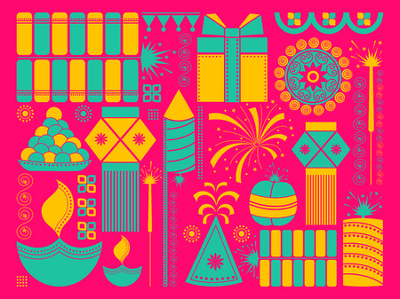 vector illustration of Happy Diwali festival background kitsch art India Illustration