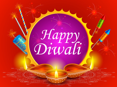 religious event: vector illustration of colorful fire cracker with decorated diya for Happy Diwali holiday of India
