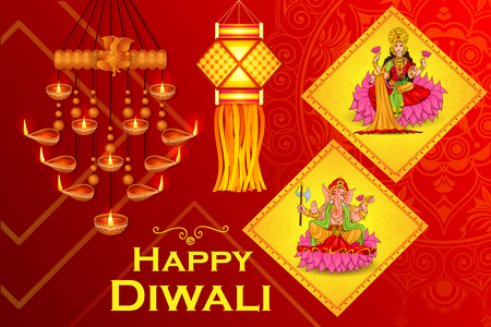 auspicious occasions: illustration of Goddess Lakshmi and Lord Ganesha in Happy Diwali holiday of India