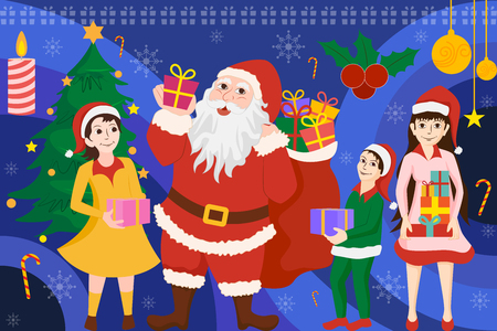 vector illustration of Santa Claus standing with Christmas Holiday gift